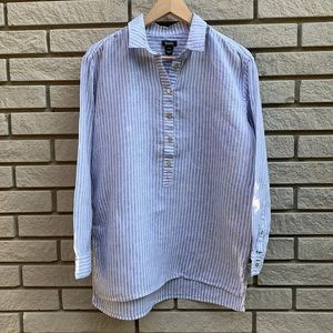 Roots Striped 100% Linen Tunic Top S